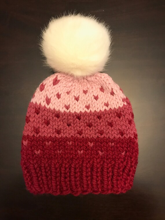 0be943ef55b1f6 Fair Isle knit hat Knit Hat with Faux Fur Pom Pom Red Pink   Etsy