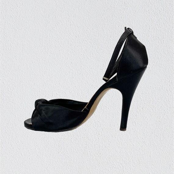 Terry de Havilland Black Satin Evening Shoes 1970s