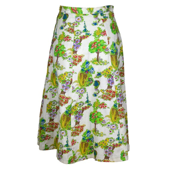 Vintage Printed A-line Summer Cotton Skirt 1970s