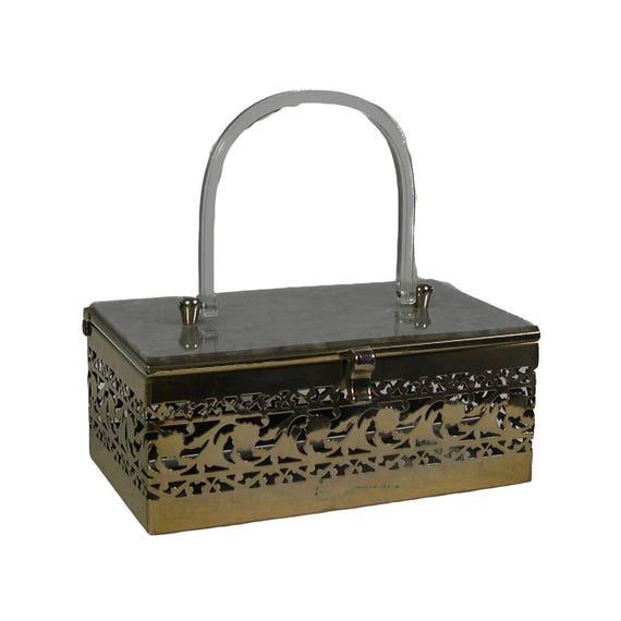 Vintage 1950s Chrome & Lucite Box Bag