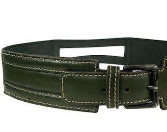 Vintage Alaia Forest Green Leather Belt - 1980s