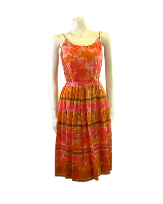 Vintage 1950s Jerry Gilden Printed Summer Dress