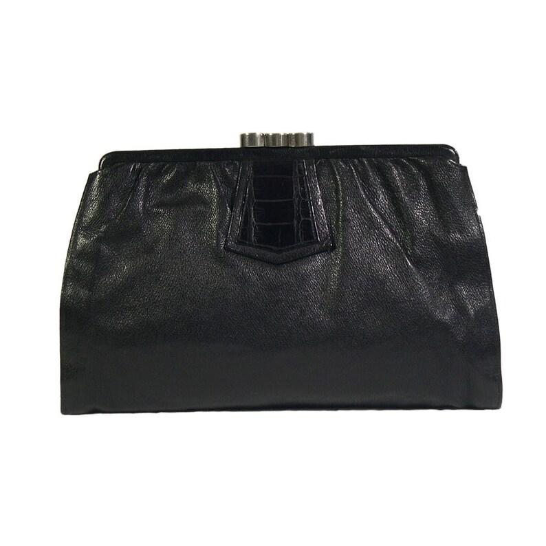 7053d7e5036 Vintage jaren 1930 Deco zwart leer & krokodil Clutch tas | Etsy