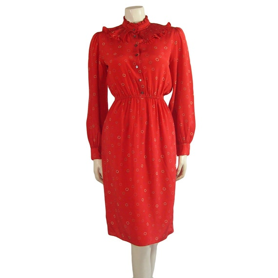 Vintage Zandra Rhodes Crimson Silk Print Dress 197