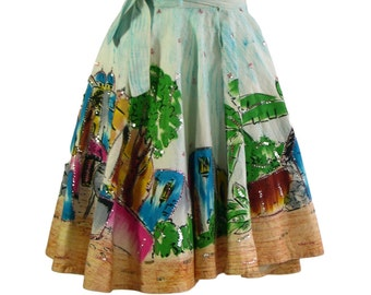Vintage Mexican Hand-painted full circle Skirt 1950s