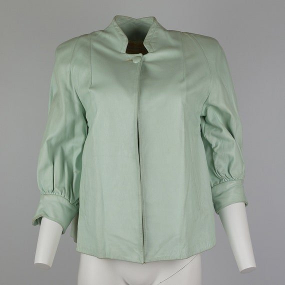 1950s Leather Jacket in Mint Green