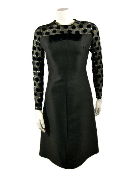 Vintage Hardy Amies Black Cocktail Dress 1960s