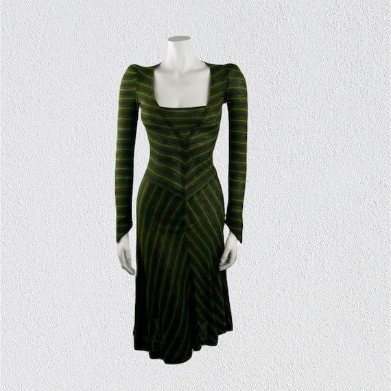 Vintage Biba Green Striped Jersey Dress 1970