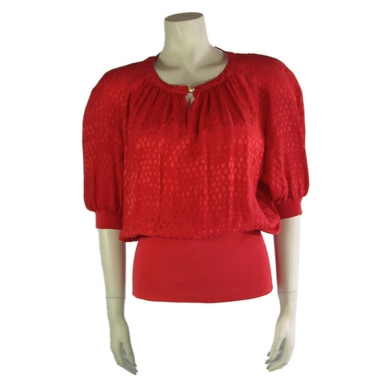 Vintage Valentino 1980s Miss V Red Silk Blouse