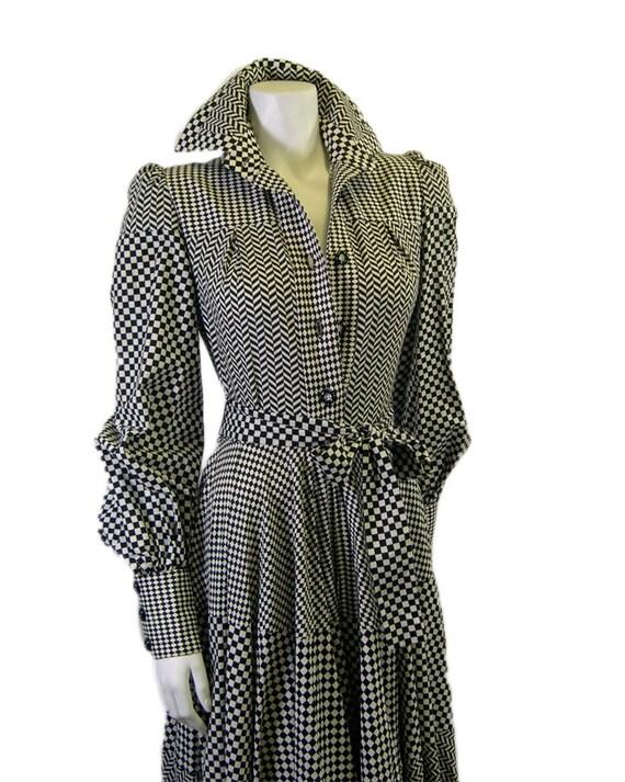 "Vintage Jean Varon ""Checker-board"" Printed Dress 1"