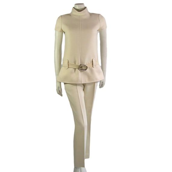 Couture Vintage Courreges Cream Trouser Suit 1960s
