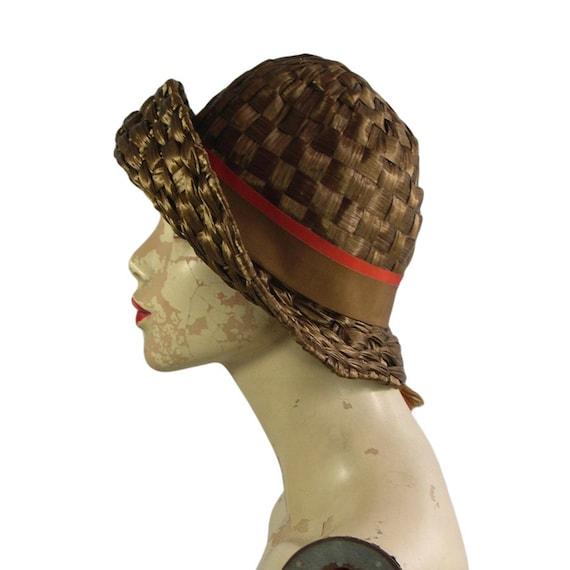 1960s Vintage Schiaparelli Hat Bronzed Raffia