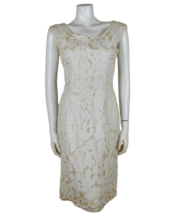 Vintage Cream Champagne Broderie Anglaise Dress 19