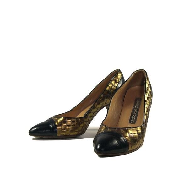 Vintage Maud Frizon Gold Lattice Court Shoes - 198
