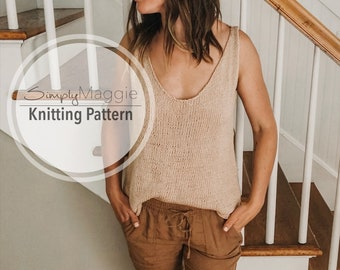 Knitting Pattern // The Weekender Tank Top // Knit Top // Summer Knitting Pattern // Beginner Pattern // Simply Maggie