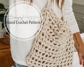 Hand Crochet Pattern // Crochet Market Bag // Finger Crochet // Beginner Pattern // Simply Maggie