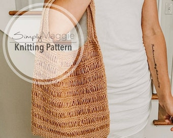 Knitting Pattern // The Everyday Market Bag // Knit Bag // Summer Knitting Pattern // Beginner Pattern // Simply Maggie