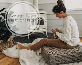 """Arm Knitting Pattern // Arm Knit Floor Cushion // Beginner Pattern //  24"""" by 24"""" by 5"""" // Simply Maggie"""
