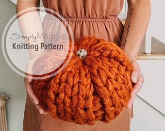 Knitting Pattern // Fall Decor // Chunky Knit Pumpkins // Beginner Pattern // 2 Patterns Included // Simply Maggie