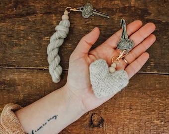 Mini Yarn Hank Key Chain, Hank to Heart Key Chain, Knitting Project, Knitting Pattern Included