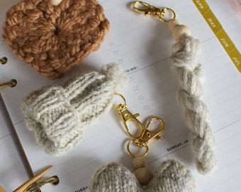 Mini Yarn Hank Key Chain, Hank to Hat Key Chain, Knitting Project, Knitting Pattern Included