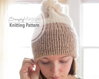Knitting Pattern // Double-Knit Brim Slouchy Beanie // Knit Beanie // Slouchy Hat // Beginner's Pattern // Simply Maggie