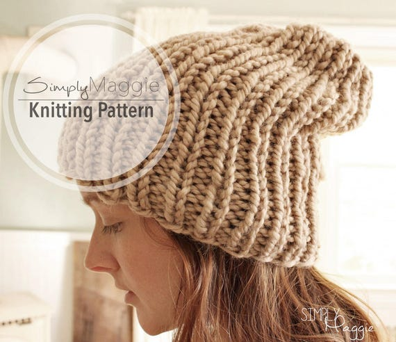 Knitting Pattern Slouchy Hat Knit Purl Hat Rib Stitch Etsy