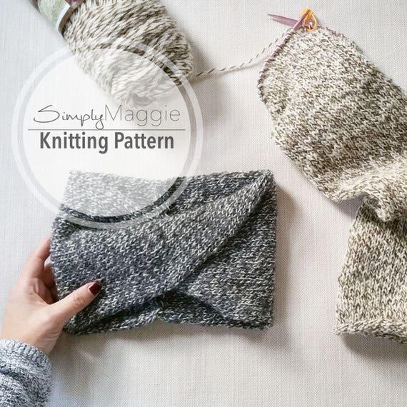 Knitting Pattern Double Knit Twisted Turban Headband Etsy