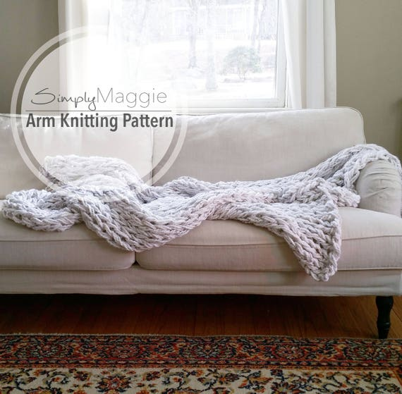 the big arm knit blanket pattern beginner 39 s pattern etsy. Black Bedroom Furniture Sets. Home Design Ideas
