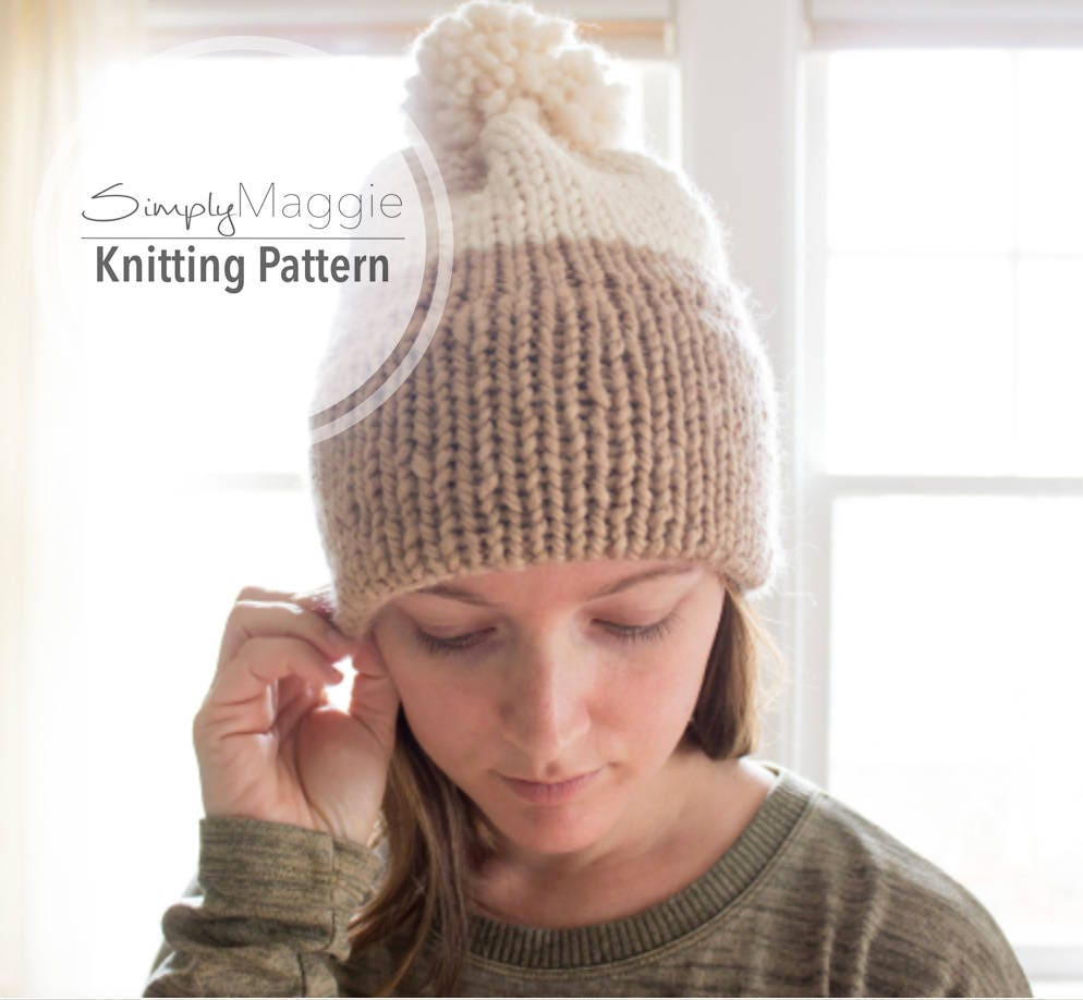 Knitting Pattern Double Knit Brim Slouchy Beanie