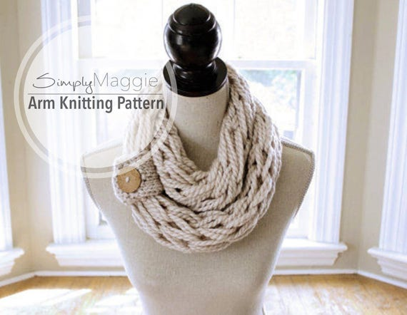Arm Knitting Pattern Infinity Scarf Chunky Scarf With Etsy
