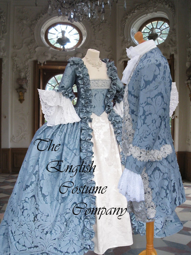 Masquerade Ball Clothing: Masks, Gowns, Tuxedos Venice Carnival.Colonial Georgian 18th century Marie Antoinette ladies Day Court gown. Fully Corseted $735.59 AT vintagedancer.com