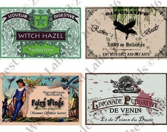 """Vintage Halloween Party Printable Labels  5.3"""" x 3.4"""" - haunted apothecary, potion bottle wine water food,  instant download"""
