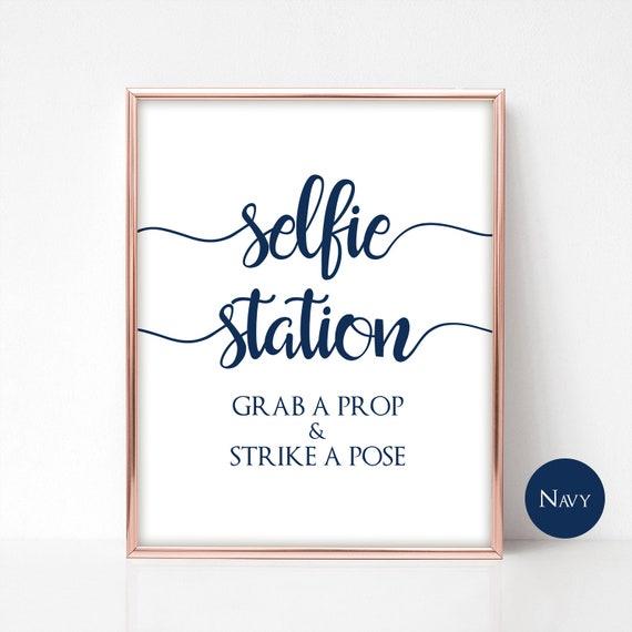 Pale Blue Watercolour Selfie Photo Prop Wedding Sign Print