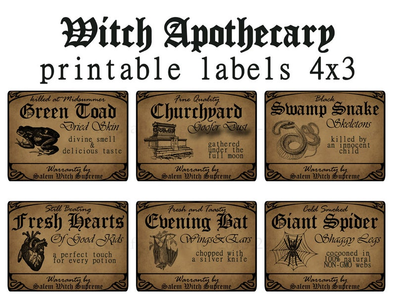 photograph regarding Printable Potion Labels known as Witch Apothecary Labels, Potion Bottle Labels Printable, Halloween Decorations, Witchcraft Poison Labels, Magic Celebration, Fast Down load