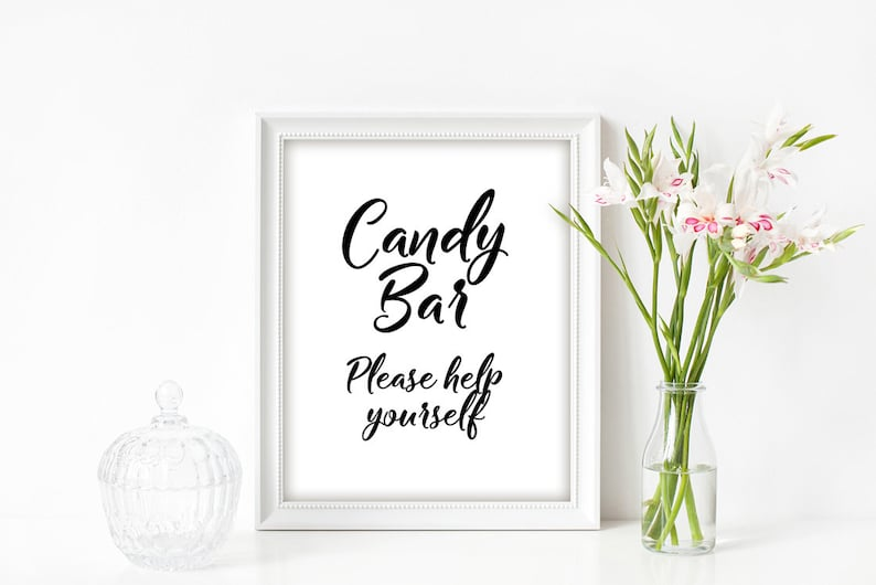 Dessert Table instant download BL1 Baby Shower Decor Candy Bar Sign Printable 8 x 10 and 5 x 7 Black /& White Calligraphy Sweet Treats