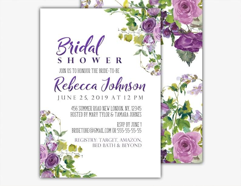 Lavender Roses Brides Bundle Digital Printable LF1 Personalized Purple Floral Invite Lilac Bachelorette Bridal Shower Invitation Suite