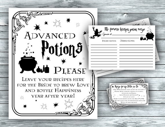 Magic Bridal Shower, Recipe for Bride Sign \u0026 Cards, Halloween Bridal  Recipe, Wizard Witch Bring a Recipe, Potion Class, instant download FM1