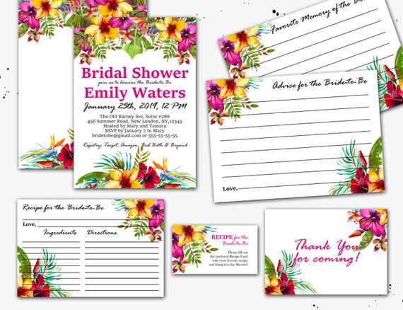 141f4be27036 Tropical Flowers Printable Bridal Shower Invitation Suite