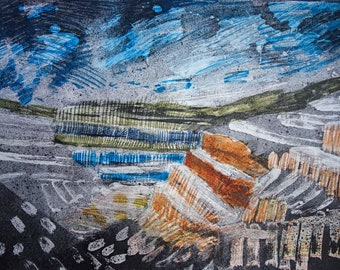 THE BRIGHT QUARRY - Landscape Large Drawing - Fine Art - Anne Fox