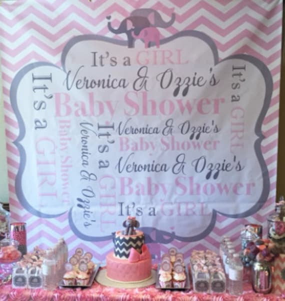Chevron Baby Shower Part Banner Baby Girl Party 6 Ft X 6 Ft Etsy