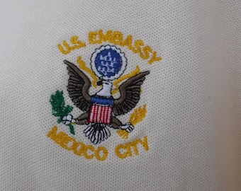 Authentic US embassy polo shirt-xxl size-used and the real deal!-in pretty perfect shape. rare.
