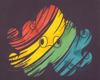 Rainbow Octopus - Original Oil Painting