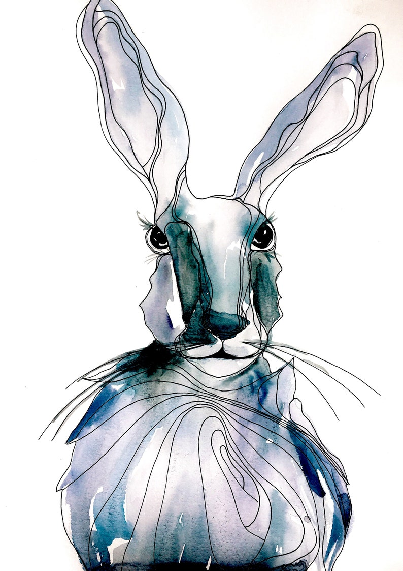 Card  Blue Rabbit  Ink and Watercolor Art 4x 6 image 0