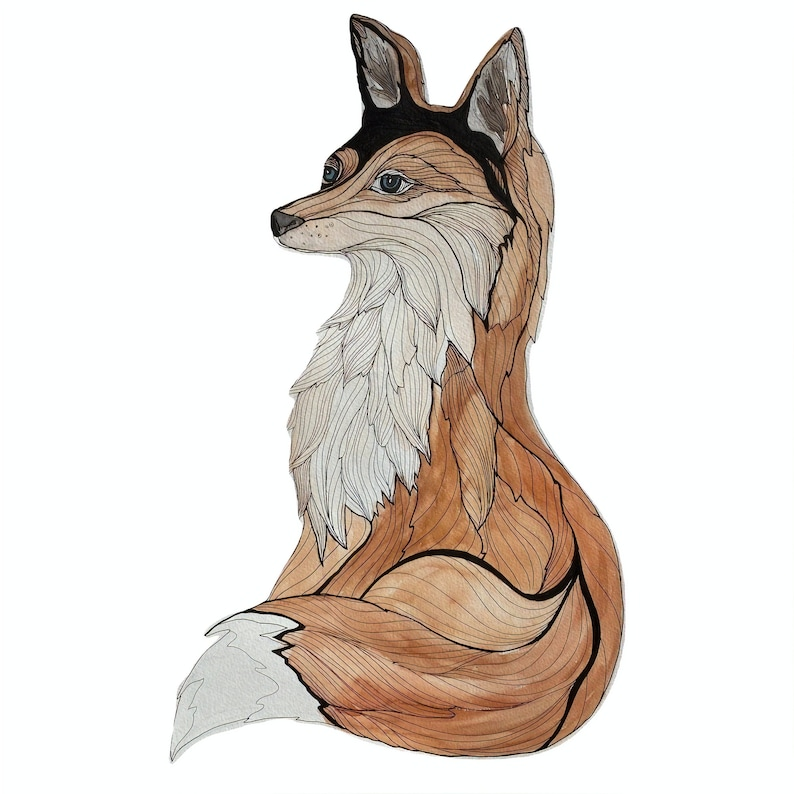 Watercolor and Ink Fox Print  10 x 10 image 0
