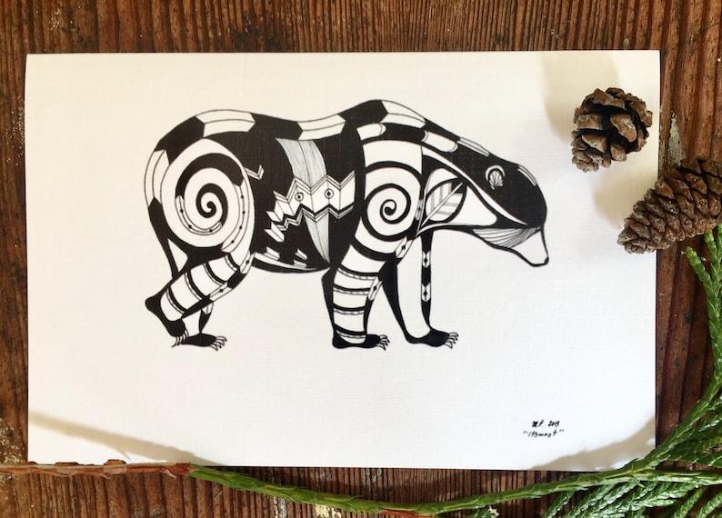 Geometric Bear Card Pen and Ink Drawing Animal Art  4 image 0