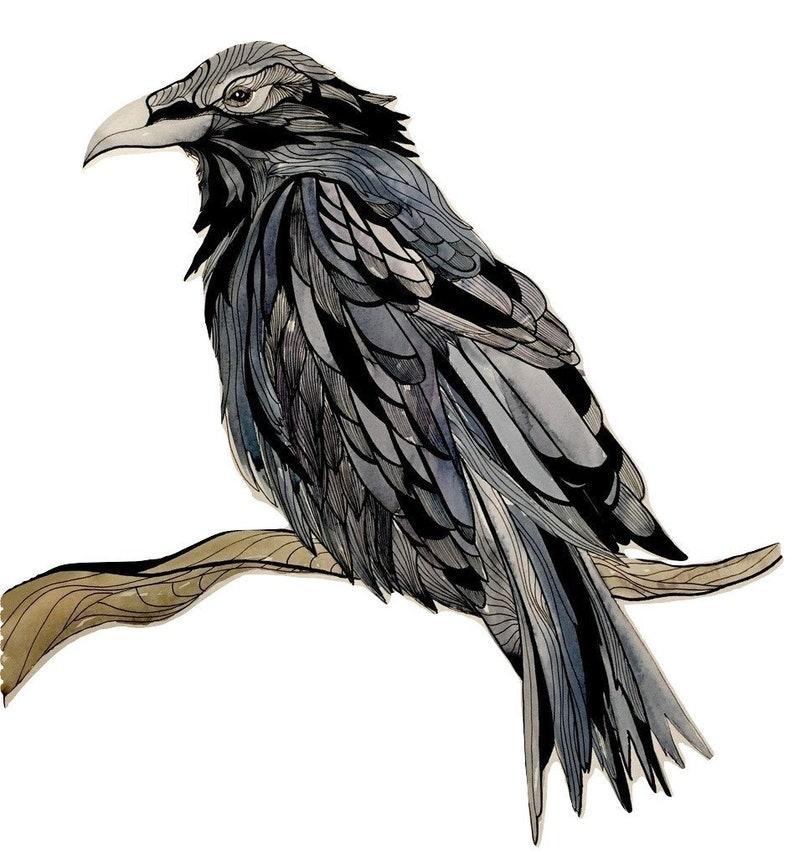 Raven Card Pen & Ink 4 x 6 image 0