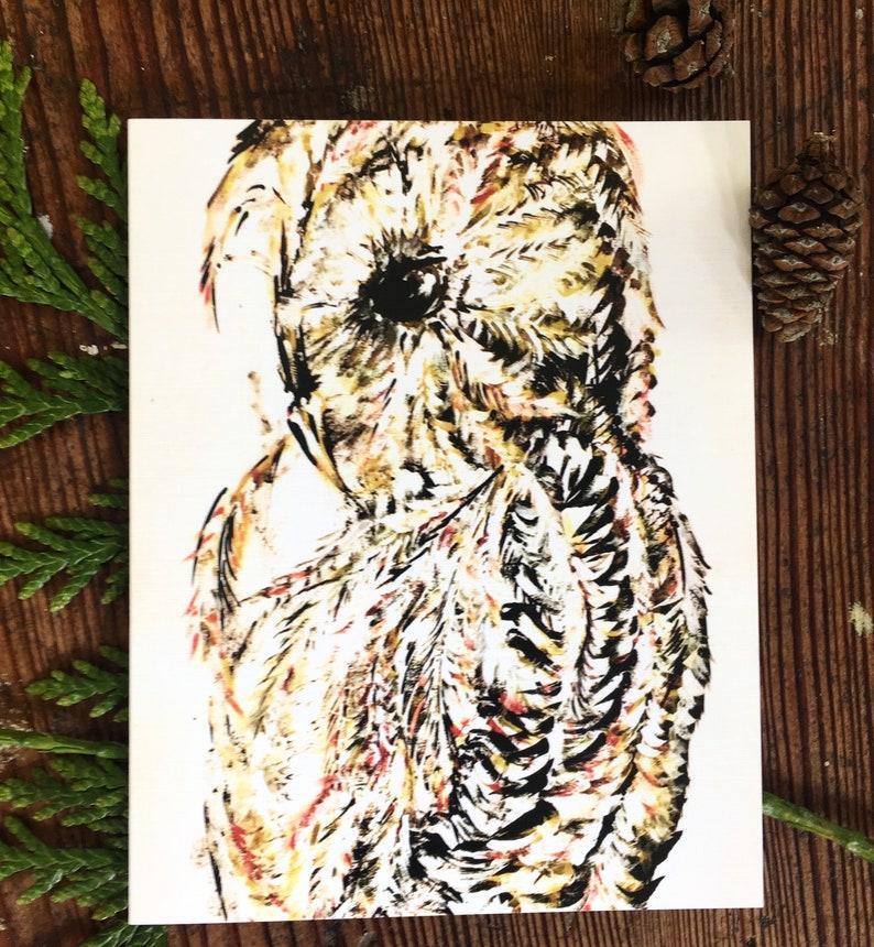 Owl Card Watercolor Art 3 x 5 image 0