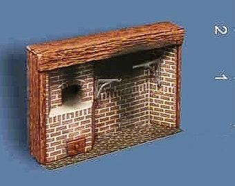 Dollhouse Miniature Colonial Walk-In Brick Fireplace in 1:48 Scale