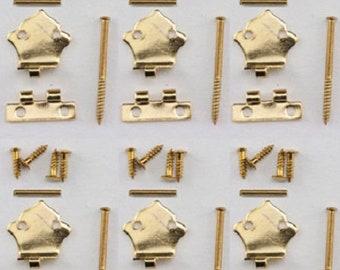 Brass - 4 pk Dollhouse Miniature Square Hinges #05540-1:12 Scale